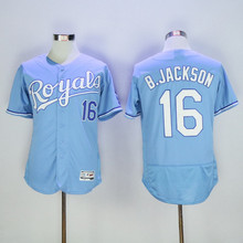 Men's 16 Bo Jackson Jerseys Blue White Alternate Flexbase Sewn Jerseys(China (Mainland))
