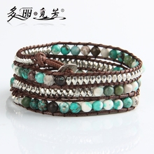 turquoise natural stone weaving wax cord 1X 2X 4X wrap bracelet wrap bracelet unisex turquoise natural stone beaded bracelet(China (Mainland))