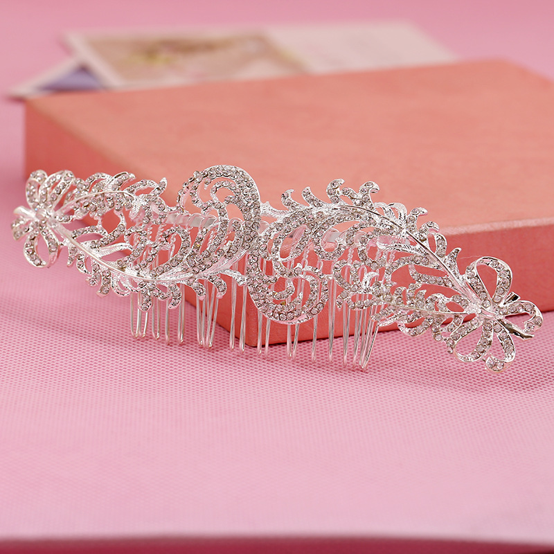 2016 fine rhinestone bridal hair comb inserted comb tiara manufacturers wholesale bridal hair accessories(China (Mainland))