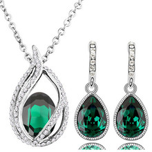 2016 new queen kate wedding Wholesales austrian crystal 18KGP tear drop fashion necklace earrings jewelry sets 80042(China (Mainland))