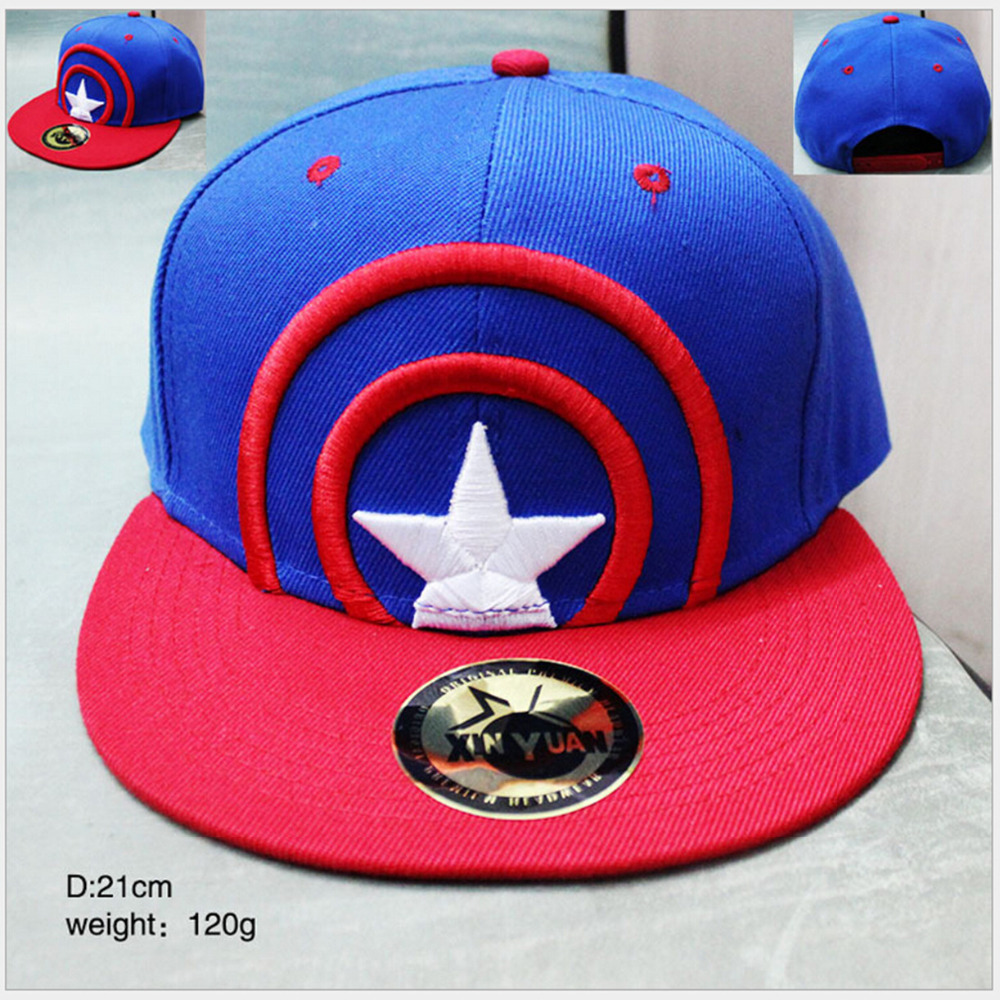 Captain America Cosplay Cap Blue red Novelty cartoon Super hero ladies dress mans Hat charms Costume Props Baseball cap(China (Mainland))