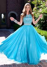 Blue Long Modest Prom Dresses 2017 With Cap Sleeves Sparkly Bling Fully Beaded Crystals Teens Formal Blue Elegant Prom Gowns(China (Mainland))