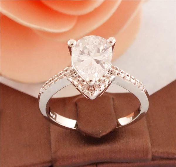 1pc 18K White gold Plated Pretty CZ Cubic Zirconia Women ring Size 7/8/9  -  Jiang Xiaobin's store store