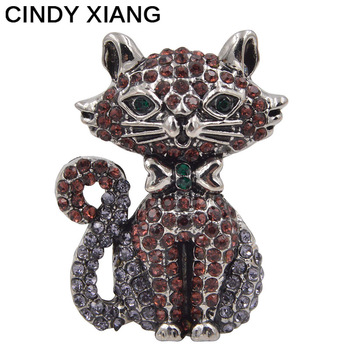 CINDY XIANG New Arrival 2017 Rhienstone Cat Brooches Unisex Women Men Brooch Pin Cute Animal Jewelry Backpack Badges Pendant