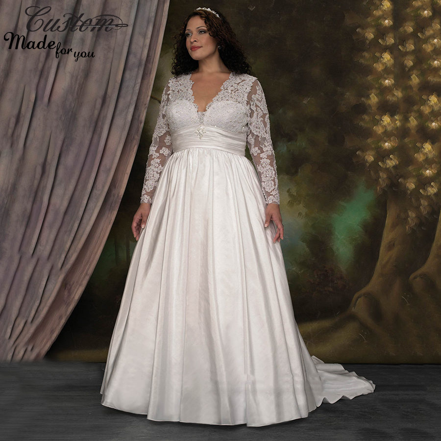 Modest plus size wedding dresses ejn dress for No lace wedding dress