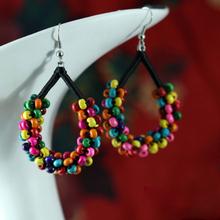 Big brand handmade Chinese wind DIY wooded beads colorful dangle earrings ,New Ethnic jewelry beaded earrings green,(China (Mainland))