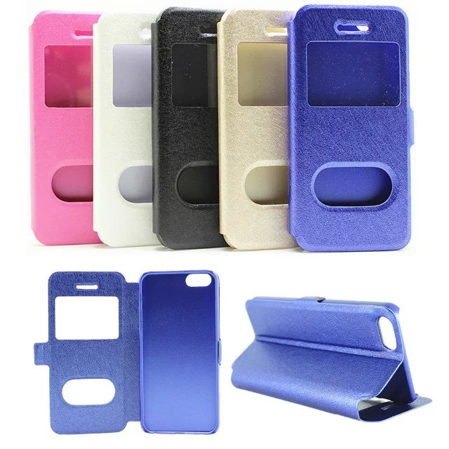 High quality Flip PU leather Cover double window silk grain cell phone holster Case for iphone SE(China (Mainland))