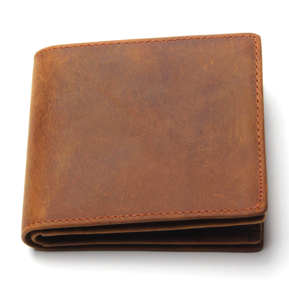 Crazy Horse Leather Men Wallets 2015 New Arrival Man Brand Design Purse Card Vintage Wallet Holder Short Fold  Genuine Small Bag