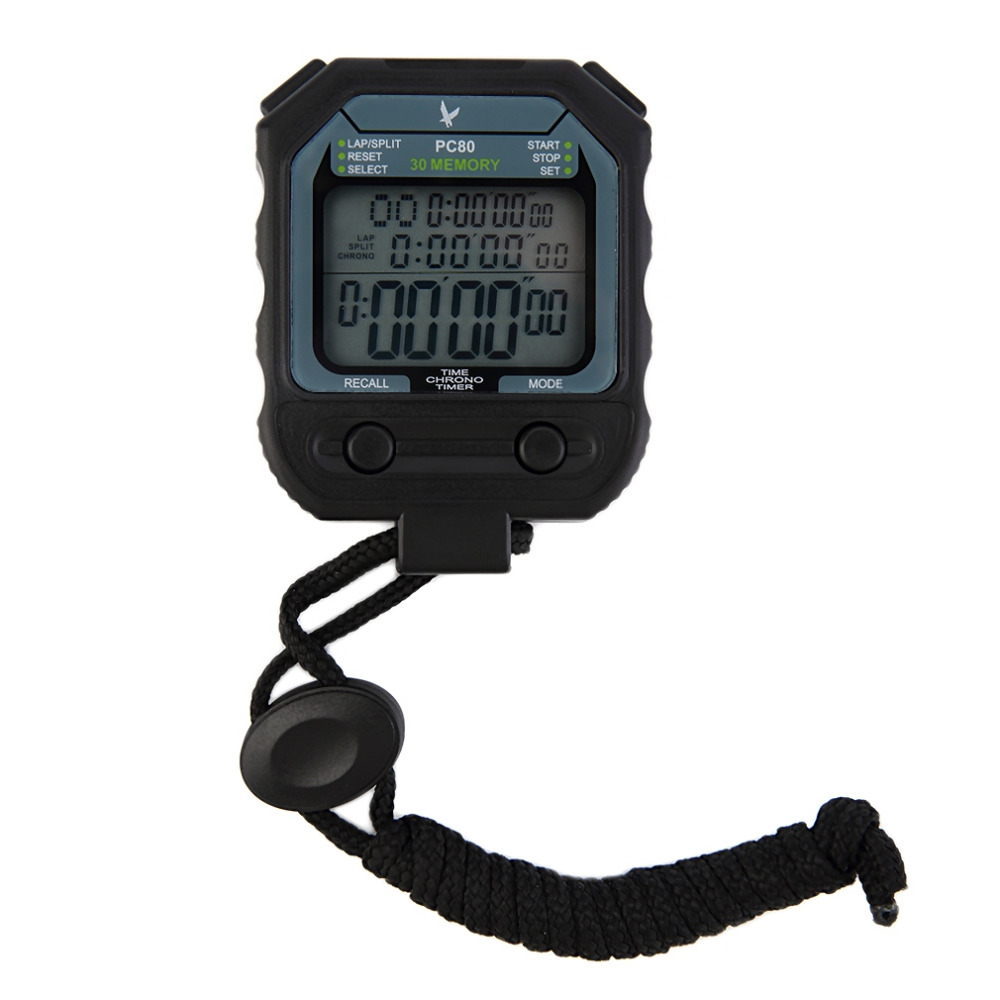 New 3 Row 30 Laps Handheld Digital Chronograph Dual Split Recallable Memory Athletics Stopwatch Sport Running Timer New Brand(China (Mainland))
