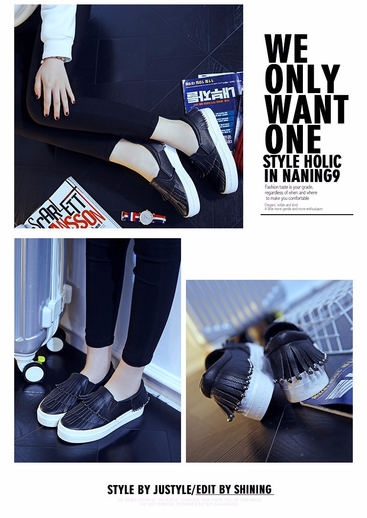 2016 Spring Fashion Canvas Flat Loafers Women Shoes Tassel Rivet Style Platform A Pedal Loafers Shoes For Female White Black 1.5