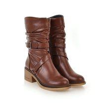 EGONERY frauen mode schnee stiefel damen schnalle schuhe gute qualität runde kappe 3 farbe schwarz braun winter new style mid kalb stiefel(China)