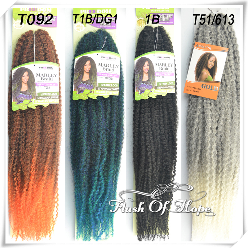 2016 Freedom Ombre Crochet Marley Braid Kinky Twist Hook Braid Synthetic Hair Extensions 10 Packs/lot 4 colors Bright Marley(China (Mainland))