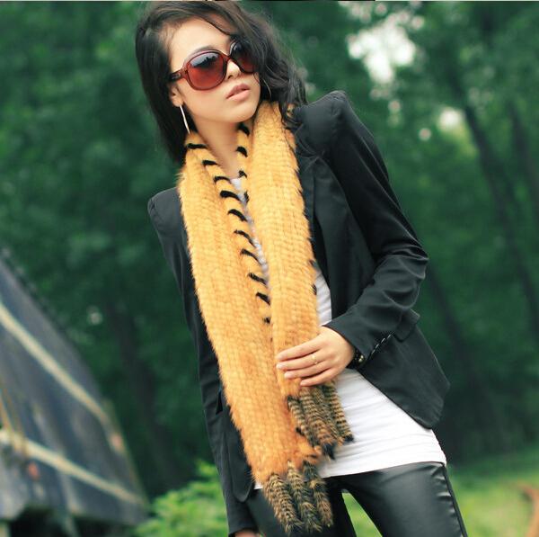 Fashion Elegant Knitted 100% Genuine Mink Fur Scarf With Tassel For Women In Winter 150CM long Fur scarvesОдежда и ак�е��уары<br><br><br>Aliexpress