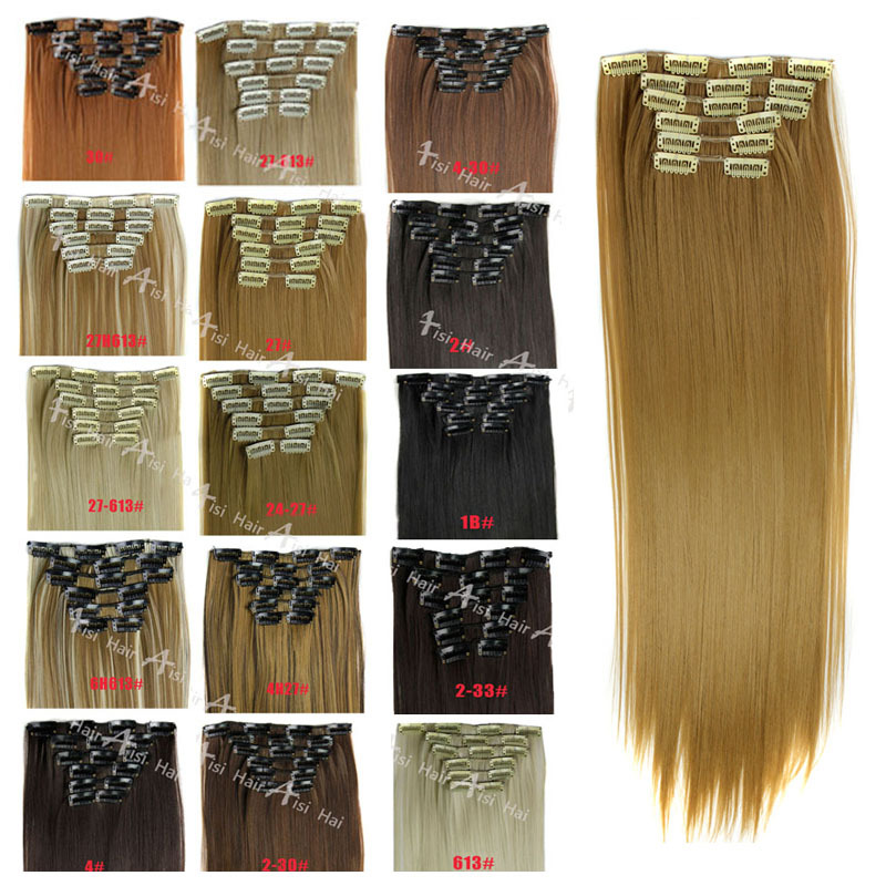 15 Color 2358cm 120g 6pcs/set Synthetic Clip In Hair Extensions Heat Resistant Fiber Hair Extension For Free Shipping<br><br>Aliexpress