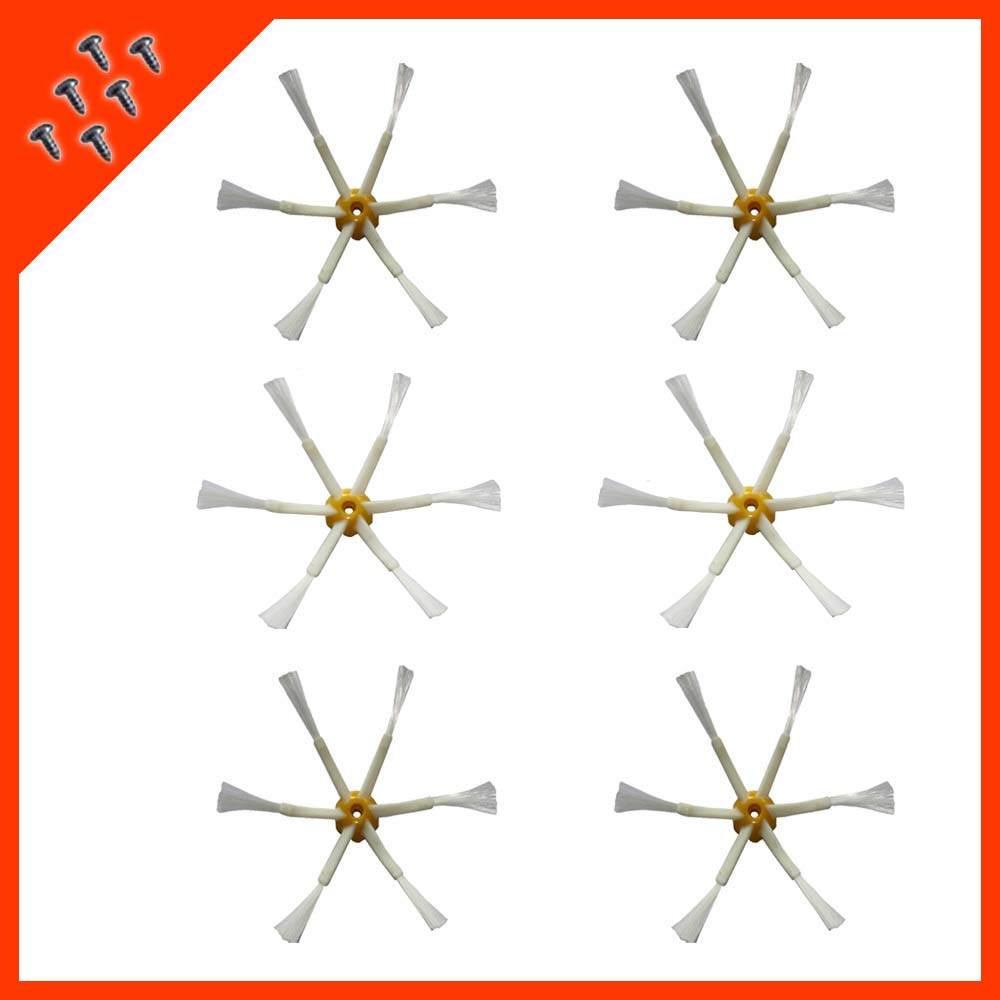 6 pcs/lot 6-armed Side Brushes + Screw for iRobot Roomba 500 600 700 Series 530 550 560 580 585 620 630 650 760 770 780 790 etc(China (Mainland))