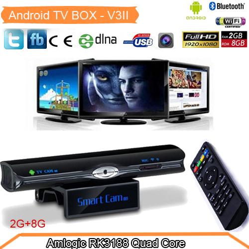 Upgrade Sunvell V3II RK3188 Quad Core TV Box Andriod 4.2 OS 2GB RAM 8GB Flash 5.0MP Camera MINI PC Bluetooth WIFI RJ45 DLNA(China (Mainland))