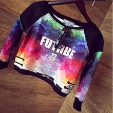 Fashion 2015 New Hoodies Street Beat Three-dimensional Models Sweatshirt Color Printing  Long-sleeved Sweatshirt Women Hoody(China (Mainland))