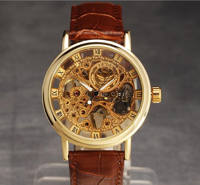 Fashion watch men skeleton hollow mechanical hand wind luxury male business leather strap wrist watch relogio
