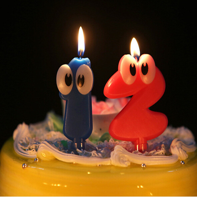 big eyes number decorative candles digital candles cake