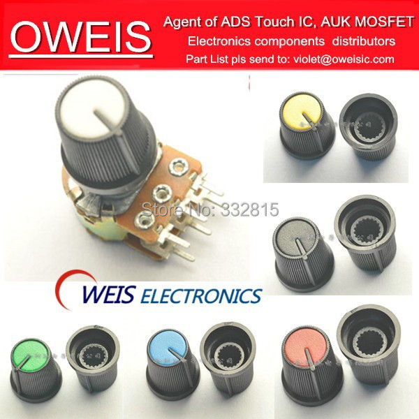 ! 1plastic Potentiometer knob 5 color choose RED/BLUE/GREEN/YELLOW/BLACK Single double - Oweis Electronics (HK store)