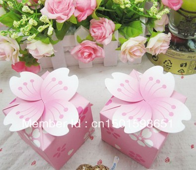 Christmas Candy Box 10Pink Cherry Blossom Wedding Favor Marriage Party Boxes Baby Birthday Gift Box, - Yiwu Wedding&Baby Favors store
