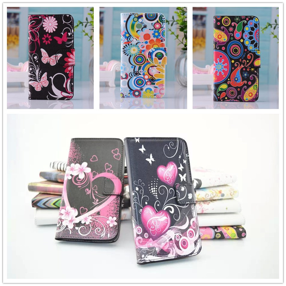 Luxury Love Flower Star Wallet Leather Case For Sony Xperia E1 D2004 D2005 E1 Dual D2104 D2114 D2105 Phone Cover High quality(China (Mainland))