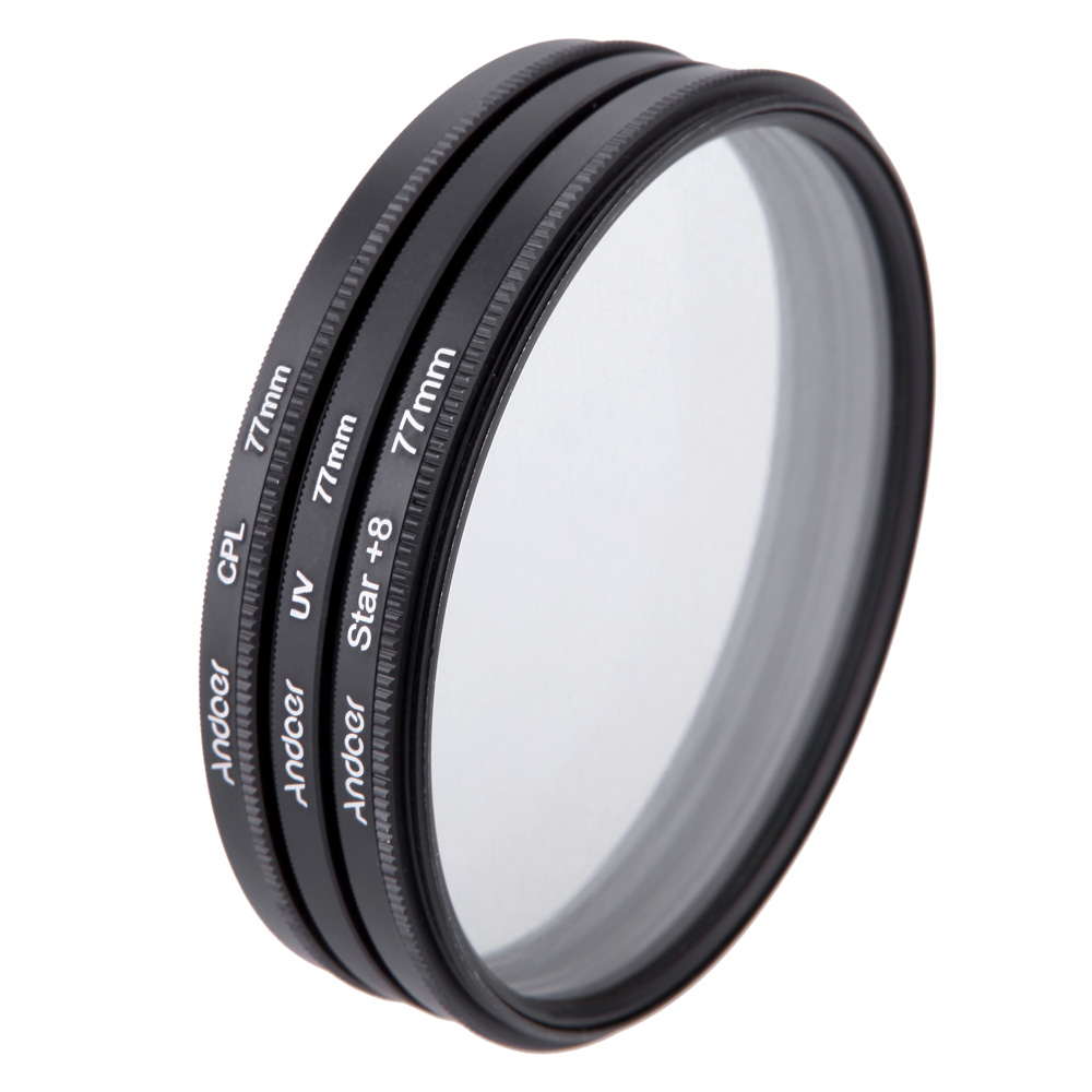 Andoer 77mm Filter Set UV + CPL + Star 8-Point Filter Kit with Case for Canon Nikon Sony DSLR Camera Lens(China (Mainland))