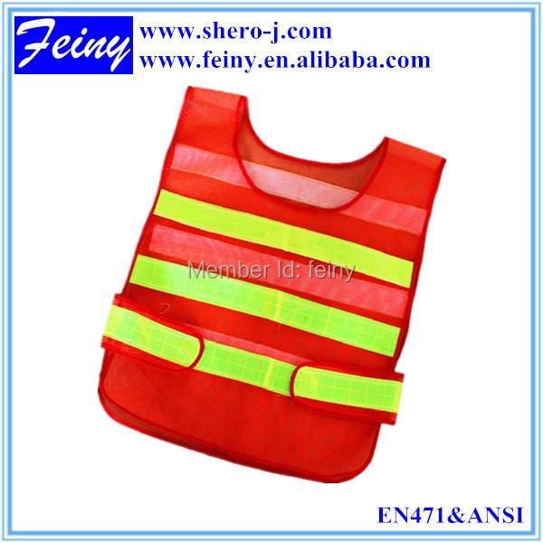 Wholesale red mesh reflective safety vest coat Sanitation vest Traffic safety warning clothing(China (Mainland))
