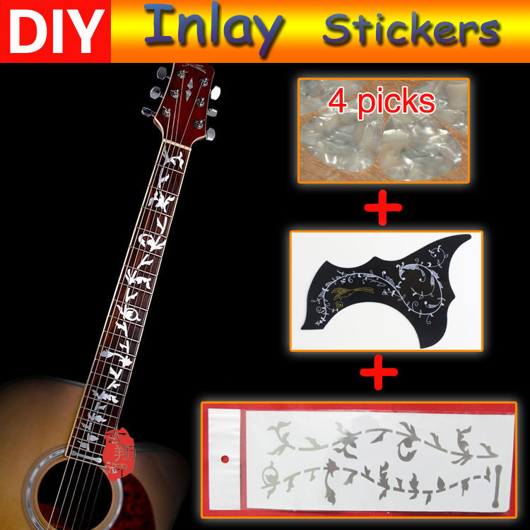 Free shipping guitar fretboard inlay Tree of Life Stickers (reflective silver) + 4PCS guitar picks + 1PCS guitar guard(China (Mainland))