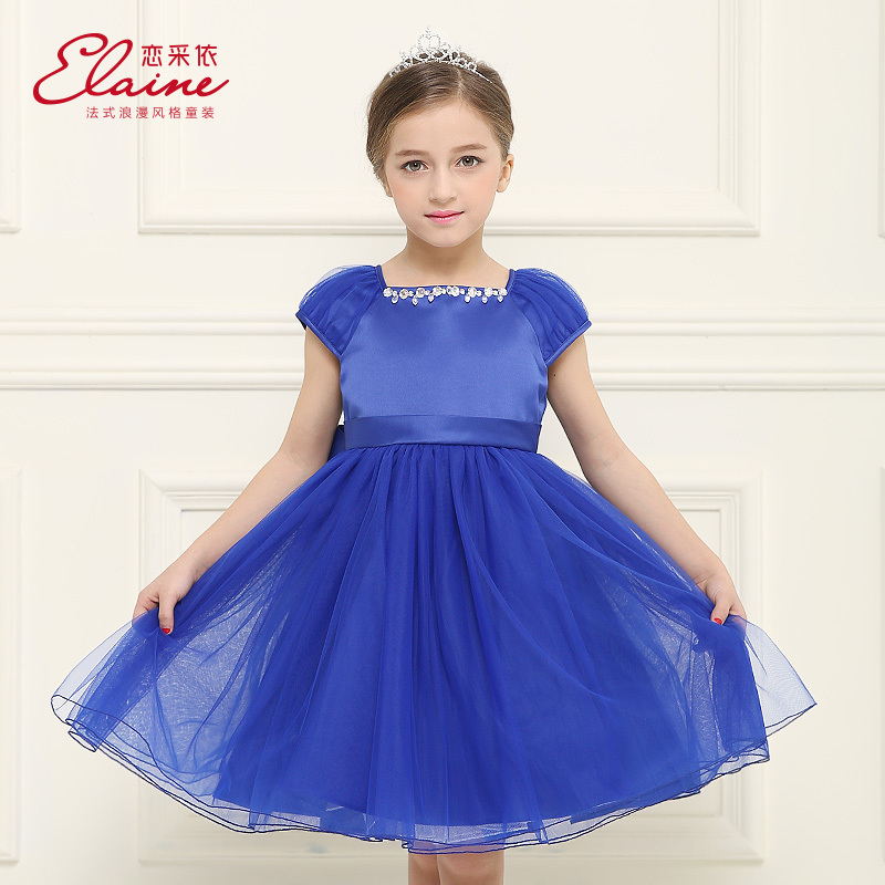 2015 Baby Girl Summer Dress Princess Dresses Kids Blue Royal Ball Gowns Party Frock Designs(China (Mainland))