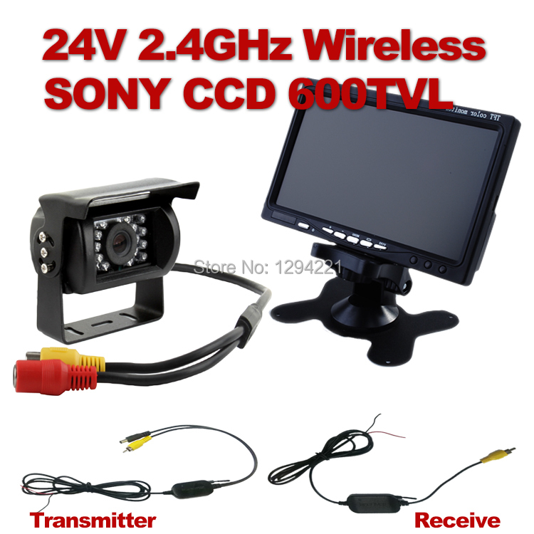 Wireless 24V 2.4GHz waterproof Sony 600TVL CCD Bus ,Truck backup camera ,Backed up Parking Rearview Kit +7Inch minitor(China (Mainland))