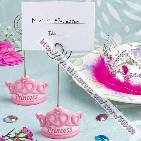 FREE SHIPPING+Baby Favors Pink Crown Themed Princess Place Card Holder +100pcs/LOT+Very Good For Baby Shower(China (Mainland))