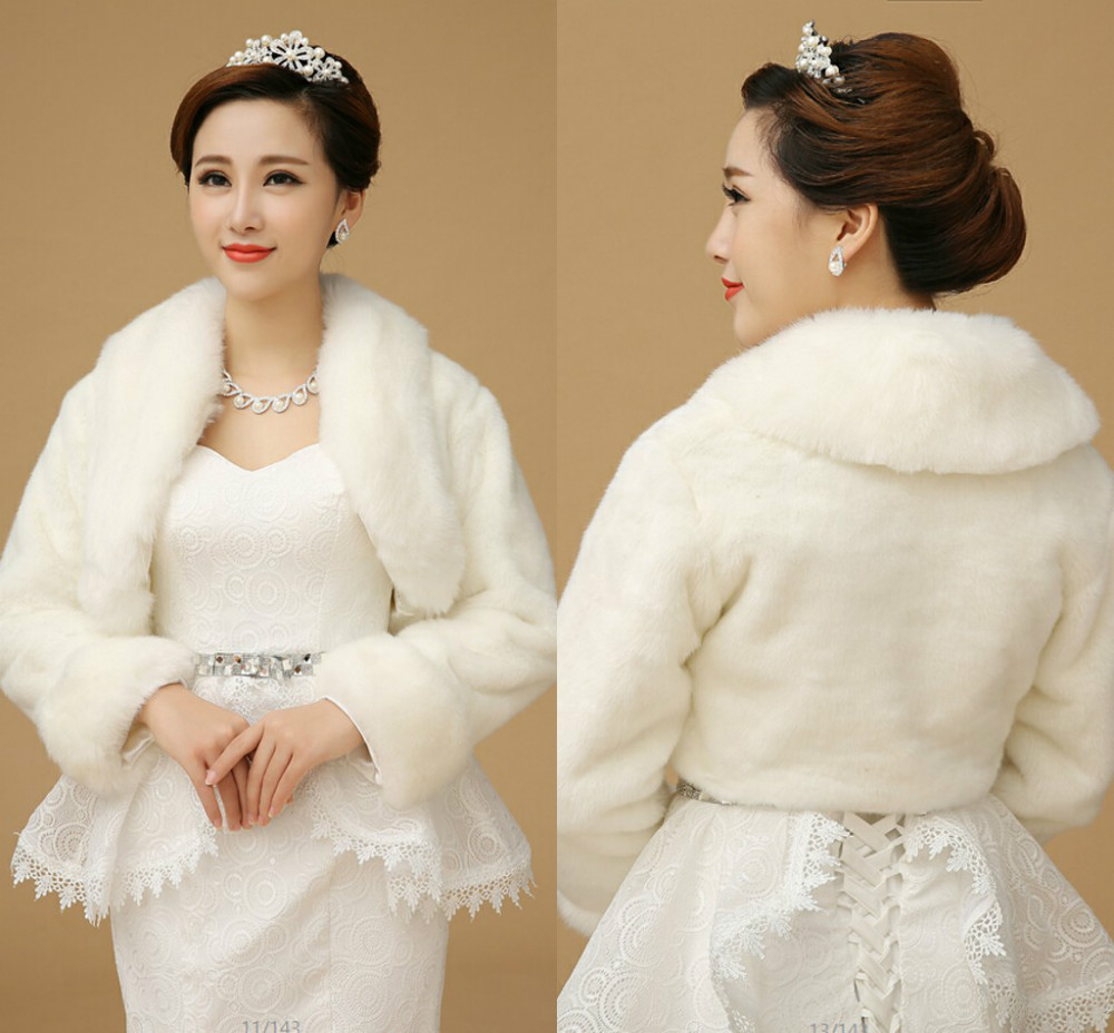 Elegant Long Sleeve White Faux Fur Wedding Coat Prom Party