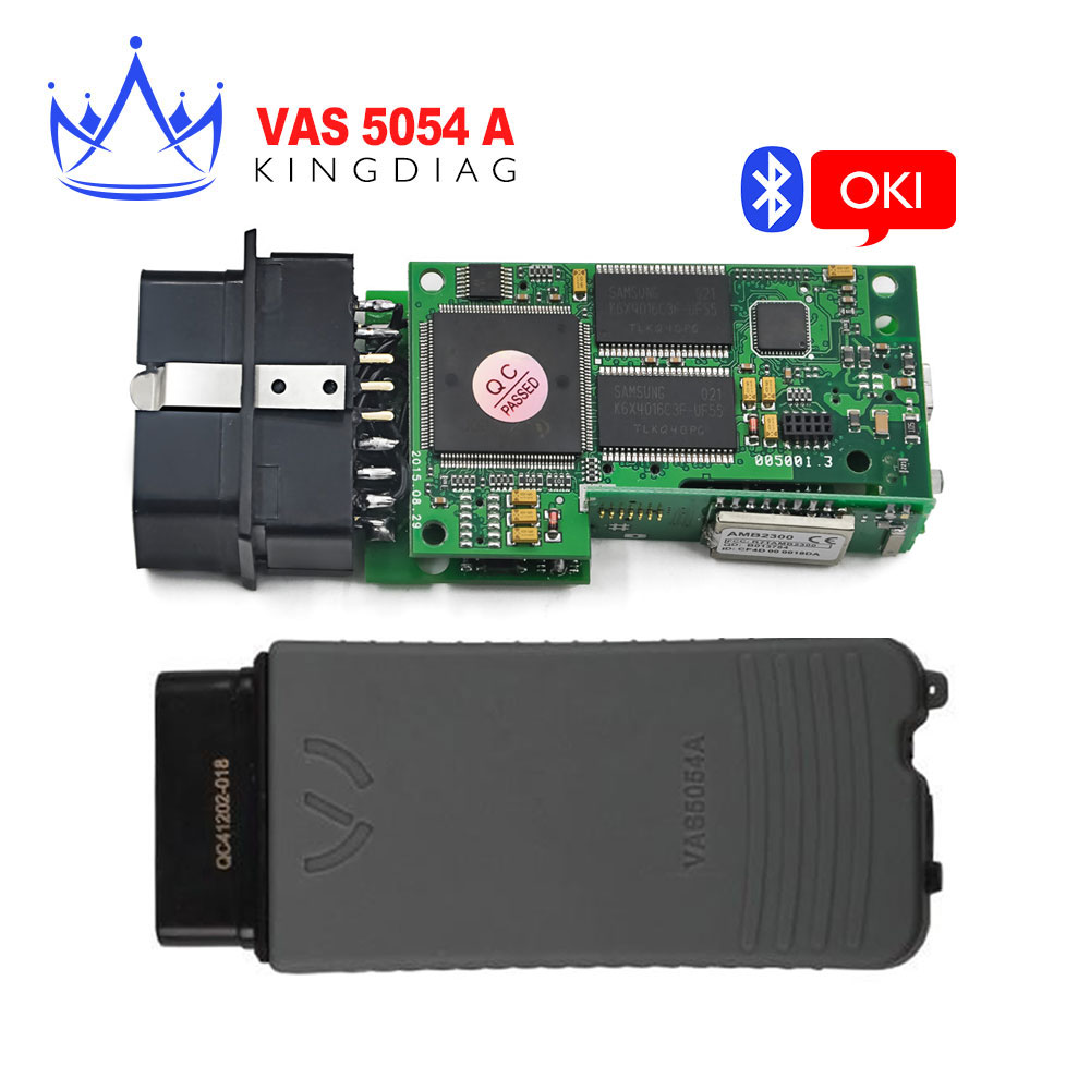 VAS5054 With OKI Chip V3.0.3 full chip VAS 5054A with bluetooth VW VAS5054A Green board Plastic box in stock(China (Mainland))