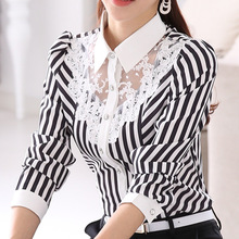 Buy 2017 New Women Lace Blouses Long Sleeve Lapel Striped Shirt Casual Fashion OL Work Tops Blusas Femininas Plus Size 3XL 4XL B420 for $17.07 in AliExpress store