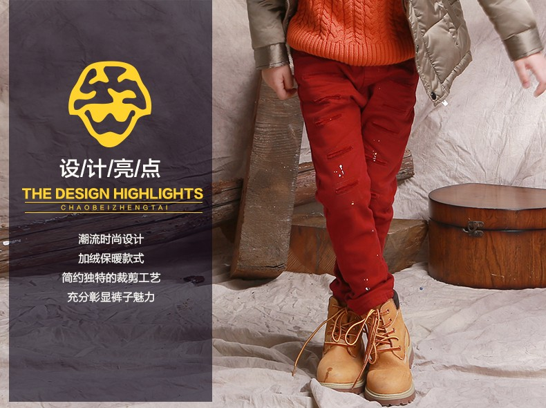 New Personality Children Boys Pants Winter Baby Boy Casual Pants Kids Jeans Boys Trousers Thicker Corduroy Pants