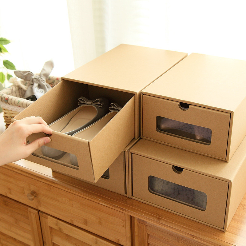 1pcs Thickened Drawer Type Shoe Storage Box With Window 2016 Transparent Foldable Paper Kraft Home Decktop Sundries Box(China (Mainland))