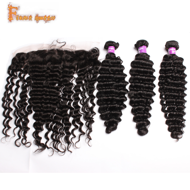 Гаджет  6A Grade Brazilian Deep Wave with Closure 4pcs/lot Lace Frontal Closure with Bundles Unprocessed Human Hair Weft with Closure  None Волосы и аксессуары