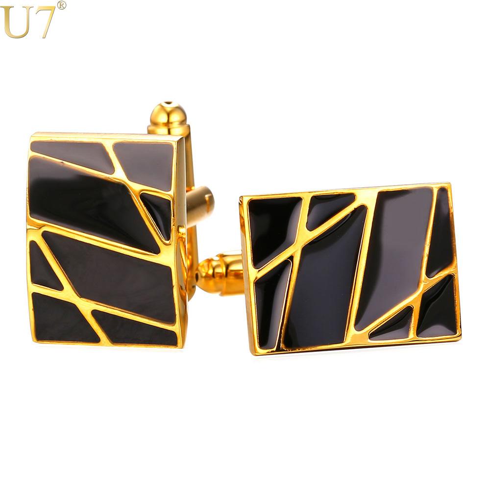 U7 New Square Cufflinks Black For Mens Enamel Fashion Jewelry Trendy 18K Gold Plated Men Suit Gold Stripes Cufflinks Box C019(China (Mainland))