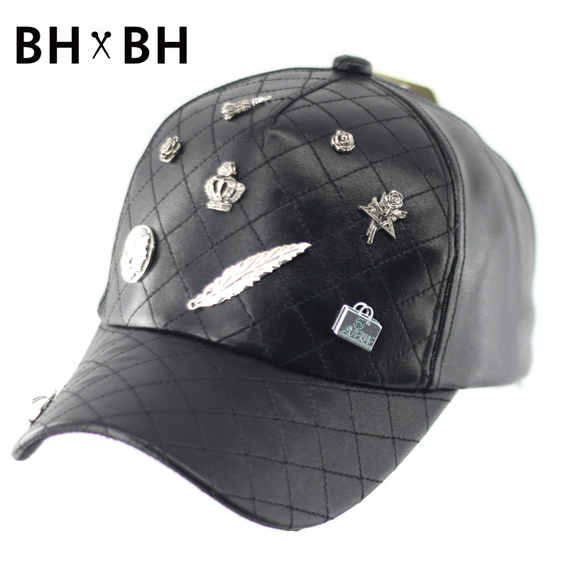 2016 New arrival baseball hat for men and women casual adults adjustable PU headwear fashion decoration snapback cap BH-LDL043(China (Mainland))