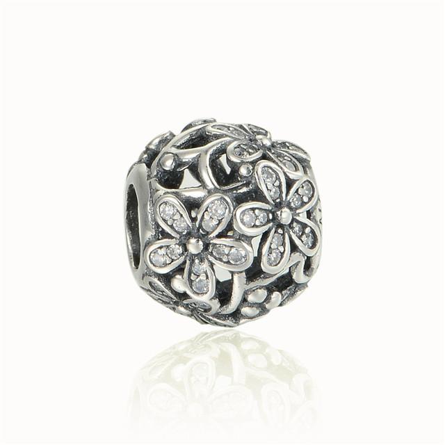Чистый 925-Sterling-Silver ювелирные изделия цветок ромашка CZ камни бусины подходит пандора браслет змея цепи DIY женщины ювелирных изделий