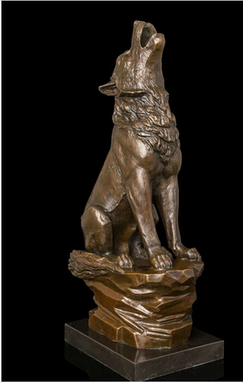 WBY---412+++Abstract Art Sculpture Decoration West Bronze Copper Marble Wolf Statue Figurine(China (Mainland))