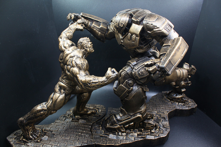 Limited Quantity 2pcs /Set Hulk VS iron man MK44 Statue Finish Painting Resin Staue Action Figure H34CM