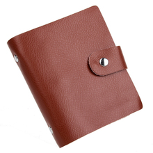 Hot Sale 40 Slot Hasp Genuine Leather Business Credit Card Case ID Card holder Checkbook Card