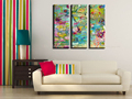Abstract modern colorful painting 3 piece wall art handmade triptych floral oil painting on canvas for