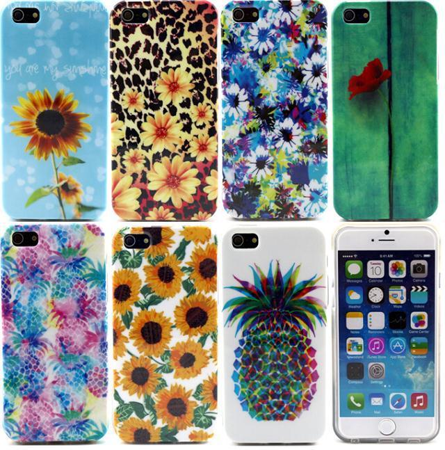 For Apple iPhone 5 5S 5G Colorful Flower Pineapple TPU Gel Soft Silicone Case Back Cover Cell Phone Cases(China (Mainland))