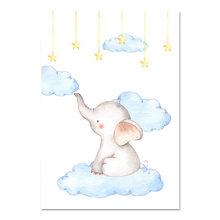 Cat Air Gajah Kanvas Lukisan Baby Nursery Dinding Seni Poster Print Nordic Kids Dekorasi Gambar Anak Laki-laki Anak Dekorasi Kamar Tidur(China)
