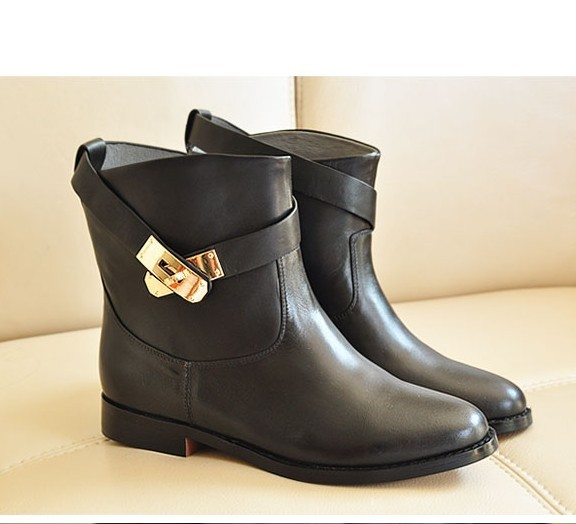 Ladies Flat Leather Ankle Boots - Boot Hto