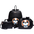 Adorable Dog Print Mother Child Bag PU Women Cute Backpack Fashionable Cartoon Three piece Suit Ladies