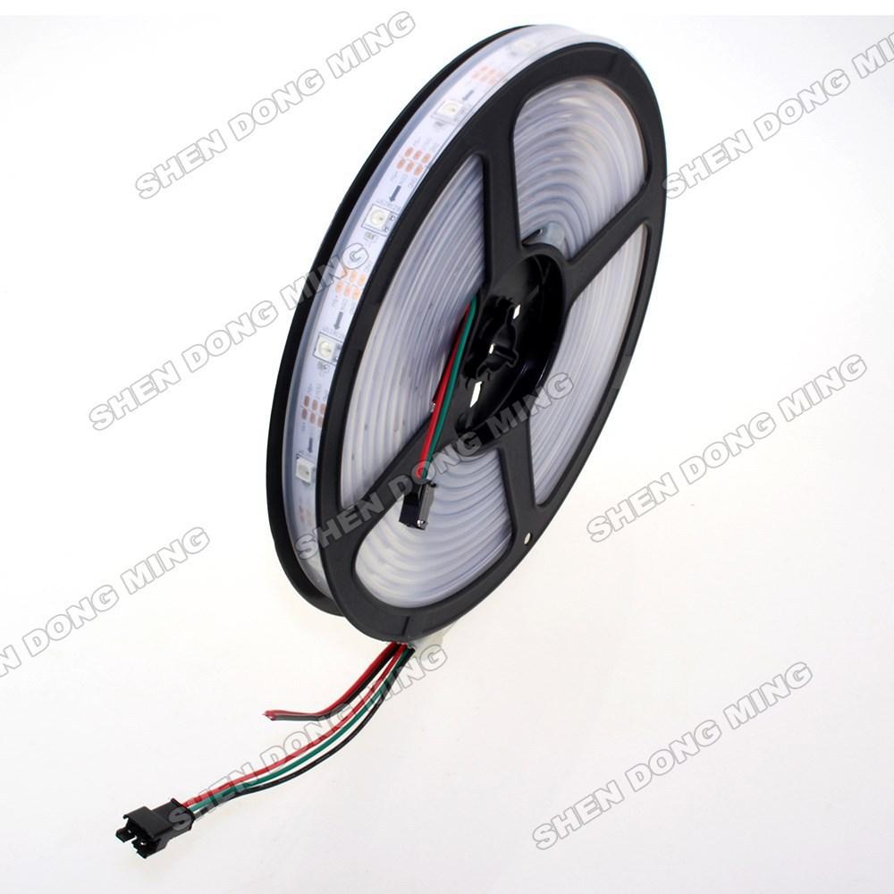 individually addressable 20m waterproof ip67 5050 rgb 60IC 60 led/m 5v ws2812 led strip, led strip pixel free shipping(China (Mainland))